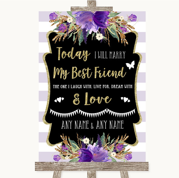Gold & Purple Stripes Today I Marry My Best Friend Personalised Wedding Sign