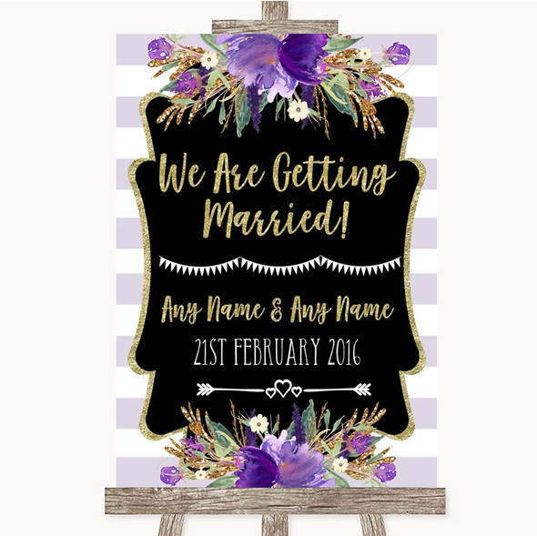 Gold & Purple Stripes We Are Getting Married Personalised Wedding Sign