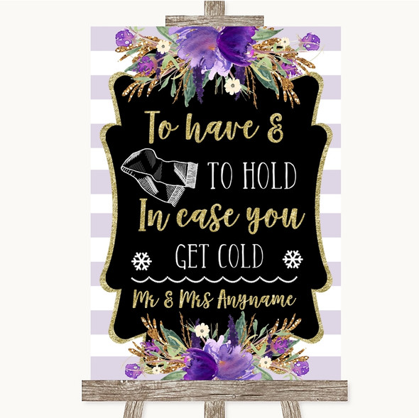 Gold & Purple Stripes Wedding Blanket Scarf Personalised Wedding Sign
