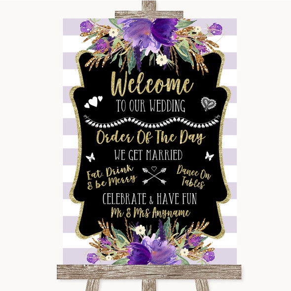 Gold & Purple Stripes Welcome Order Of The Day Personalised Wedding Sign