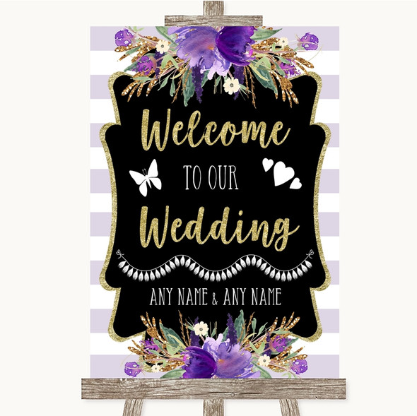 Gold & Purple Stripes Welcome To Our Wedding Personalised Wedding Sign