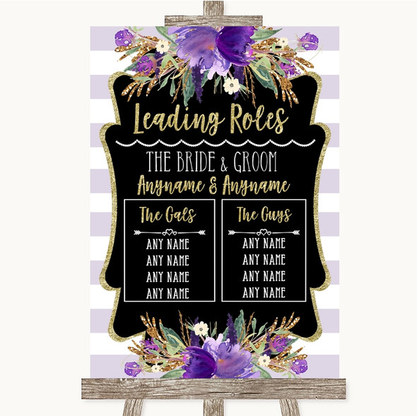 Gold & Purple Stripes Who's Who Leading Roles Personalised Wedding Sign