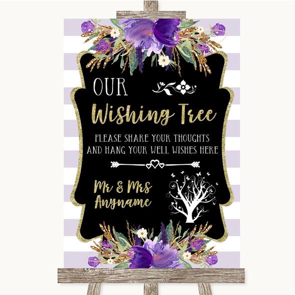 Gold & Purple Stripes Wishing Tree Personalised Wedding Sign