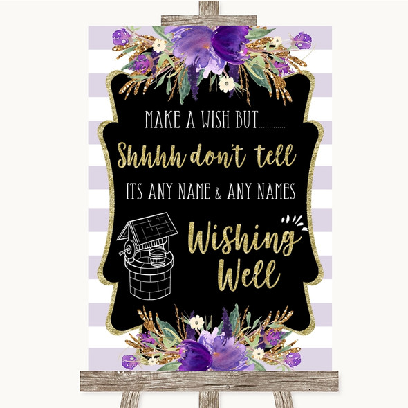 Gold & Purple Stripes Wishing Well Message Personalised Wedding Sign