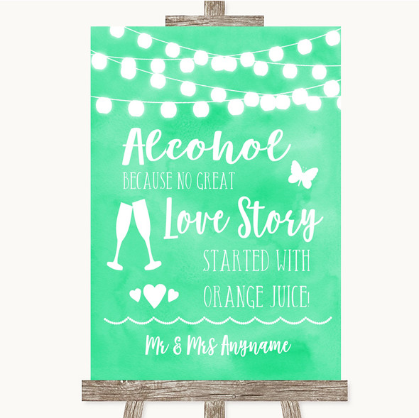 Mint Green Watercolour Lights Alcohol Bar Love Story Personalised Wedding Sign