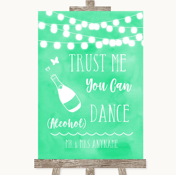 Mint Green Watercolour Lights Alcohol Says You Can Dance Wedding Sign