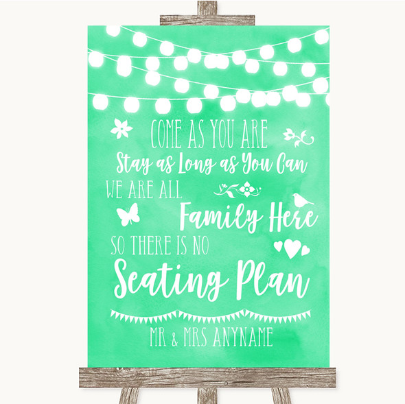 Mint Green Watercolour Lights All Family No Seating Plan Wedding Sign