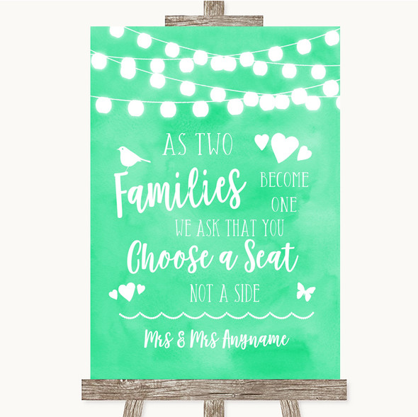Mint Green Watercolour Lights As Families Become One Seating Plan Wedding Sign