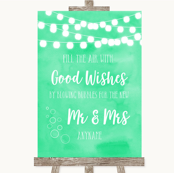 Mint Green Watercolour Lights Blow Bubbles Personalised Wedding Sign