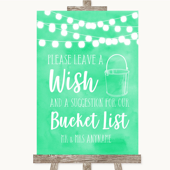 Mint Green Watercolour Lights Bucket List Personalised Wedding Sign