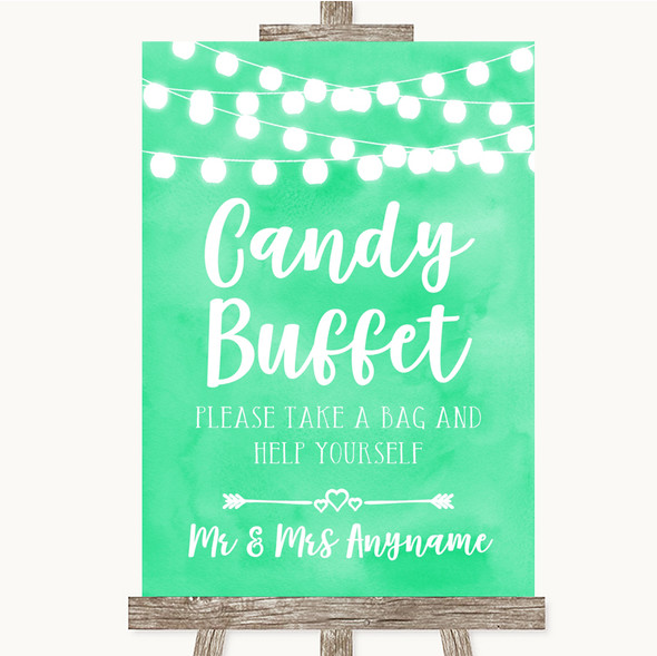 Mint Green Watercolour Lights Candy Buffet Personalised Wedding Sign