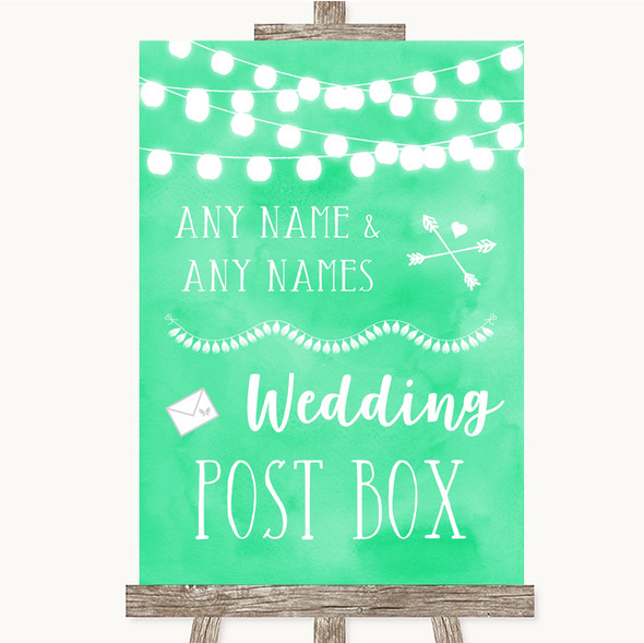 Mint Green Watercolour Lights Card Post Box Personalised Wedding Sign