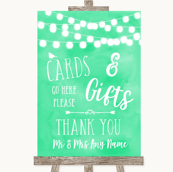 Mint Green Watercolour Lights Cards & Gifts Table Personalised Wedding Sign