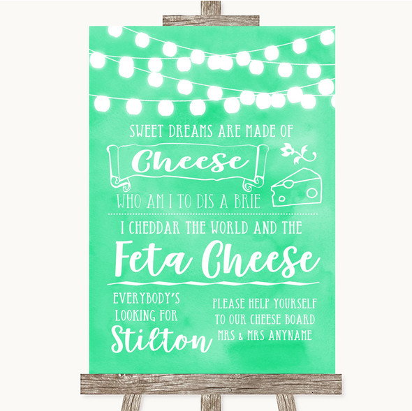 Mint Green Watercolour Lights Cheeseboard Cheese Song Personalised Wedding Sign