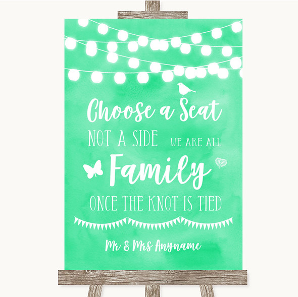 Mint Green Watercolour Lights Choose A Seat We Are All Family Wedding Sign