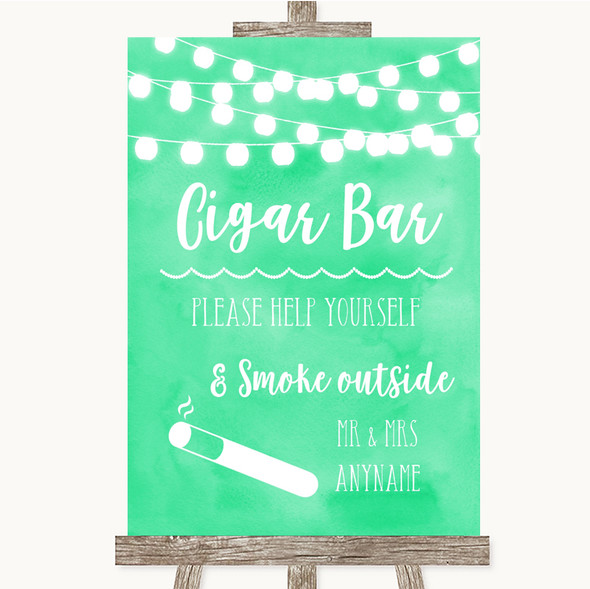 Mint Green Watercolour Lights Cigar Bar Personalised Wedding Sign