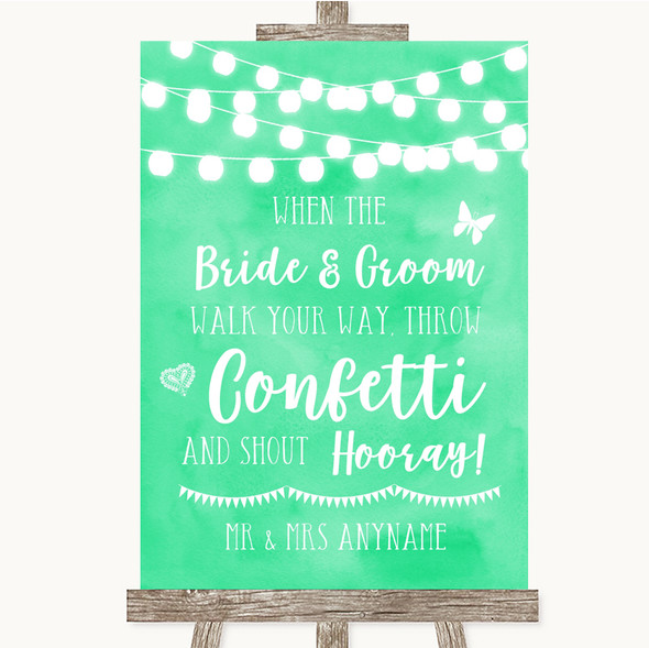 Mint Green Watercolour Lights Confetti Personalised Wedding Sign