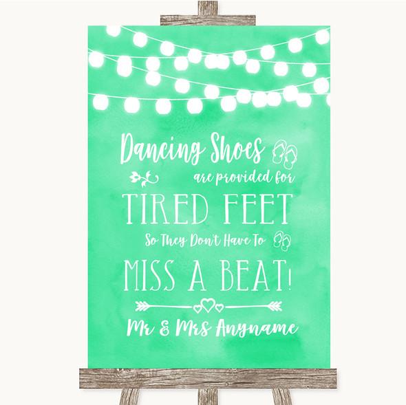 Mint Green Watercolour Lights Dancing Shoes Flip-Flop Tired Feet Wedding Sign