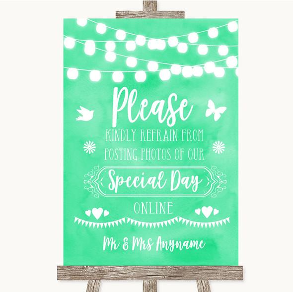 Mint Green Watercolour Lights Don't Post Photos Online Social Media Wedding Sign