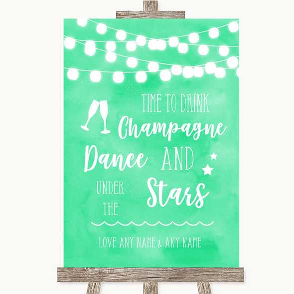 Mint Green Watercolour Lights Drink Champagne Dance Stars Wedding Sign