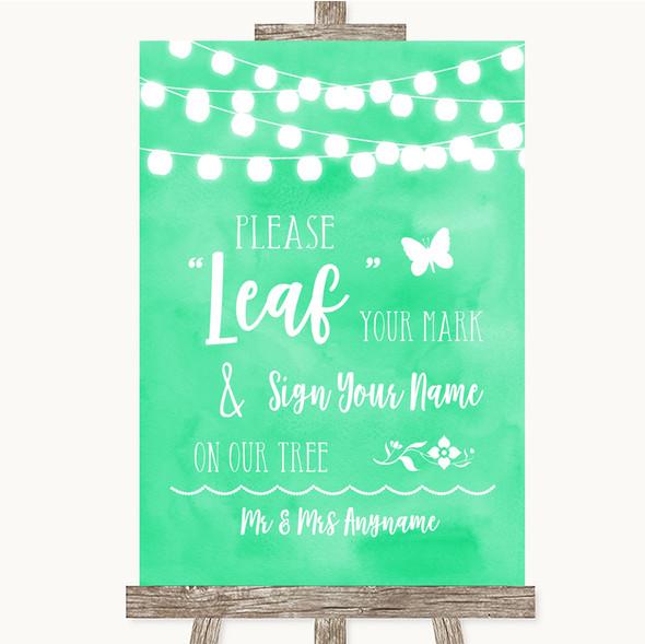 Mint Green Watercolour Lights Fingerprint Tree Instructions Wedding Sign
