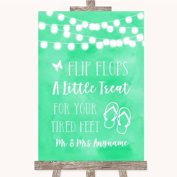 Mint Green Watercolour Lights Flip Flops Dancing Shoes Personalised Wedding Sign