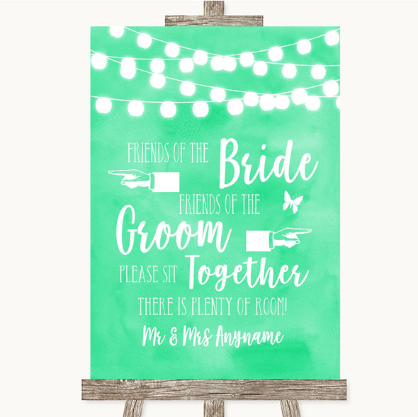 Mint Green Watercolour Lights Friends Of The Bride Groom Seating Wedding Sign
