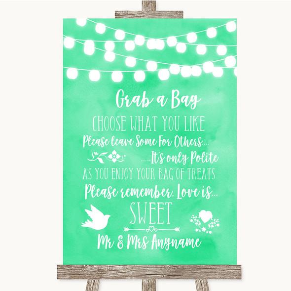 Mint Green Watercolour Lights Grab A Bag Candy Buffet Cart Sweets Wedding Sign