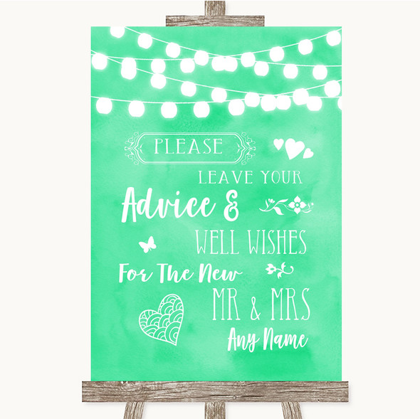 Mint Green Watercolour Lights Guestbook Advice & Wishes Mr & Mrs Wedding Sign