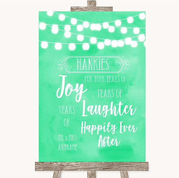 Mint Green Watercolour Lights Hankies And Tissues Personalised Wedding Sign