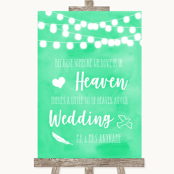 Mint Green Watercolour Lights Heaven Loved Ones Personalised Wedding Sign