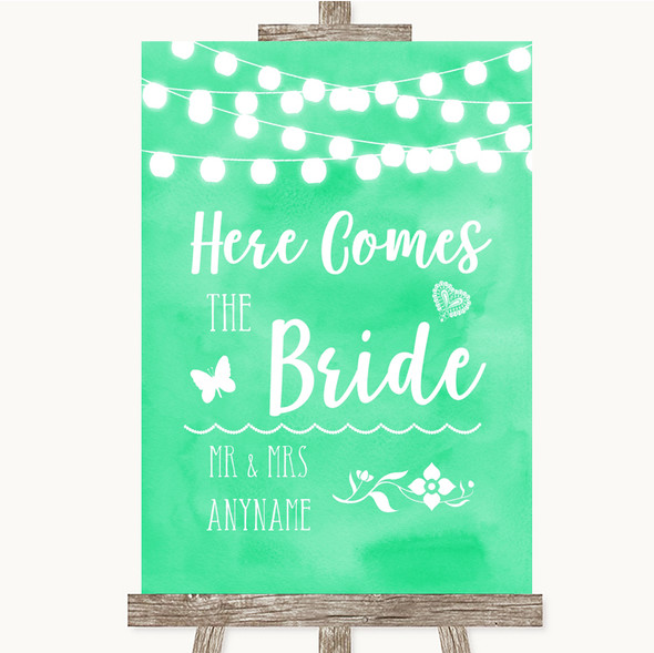 Mint Green Watercolour Lights Here Comes Bride Aisle Personalised Wedding Sign