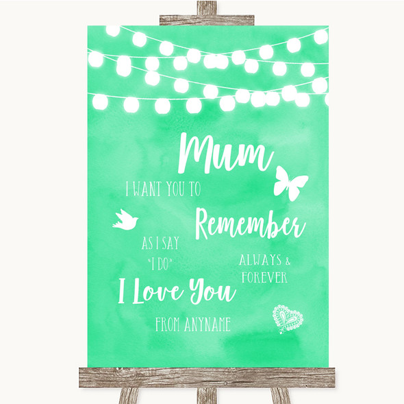 Mint Green Watercolour Lights I Love You Message For Mum Wedding Sign