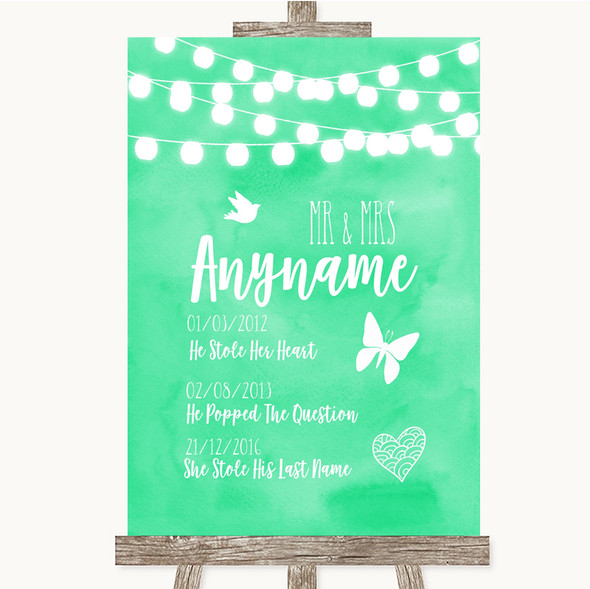 Mint Green Watercolour Lights Important Special Dates Personalised Wedding Sign