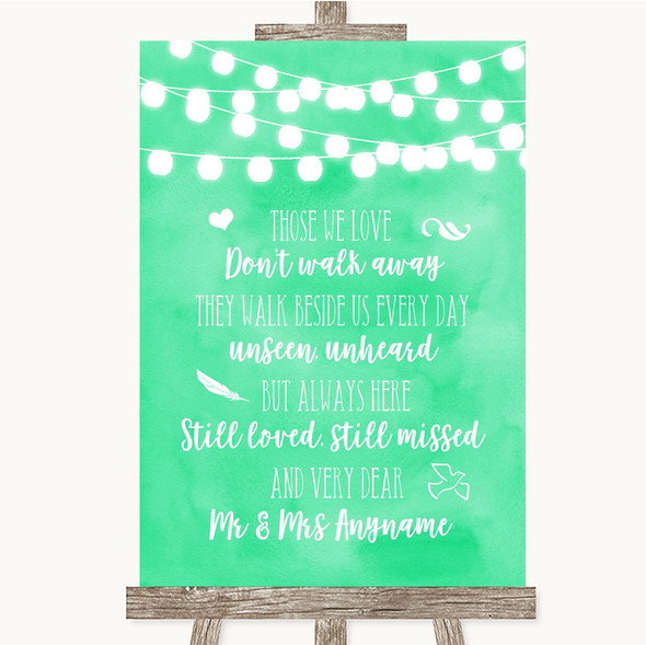 Mint Green Watercolour Lights In Loving Memory Personalised Wedding Sign