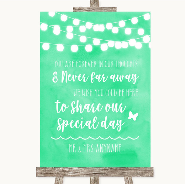 Mint Green Watercolour Lights In Our Thoughts Personalised Wedding Sign