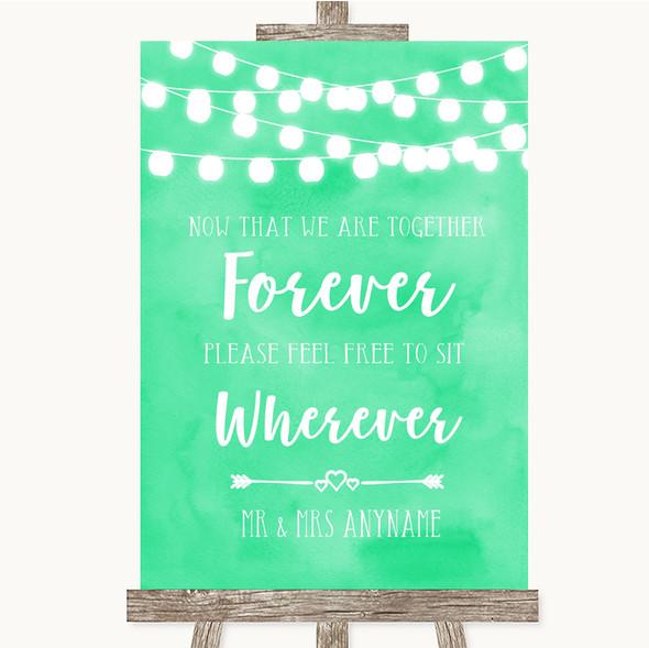 Mint Green Watercolour Lights Informal No Seating Plan Personalised Wedding Sign
