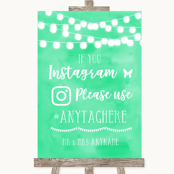 Mint Green Watercolour Lights Instagram Hashtag Personalised Wedding Sign