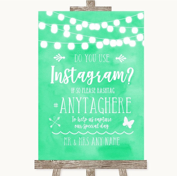 Mint Green Watercolour Lights Instagram Photo Sharing Personalised Wedding Sign