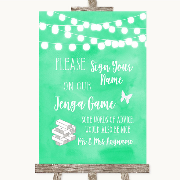 Mint Green Watercolour Lights Jenga Guest Book Personalised Wedding Sign