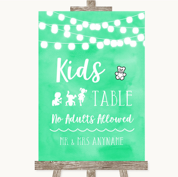 Mint Green Watercolour Lights Kids Table Personalised Wedding Sign
