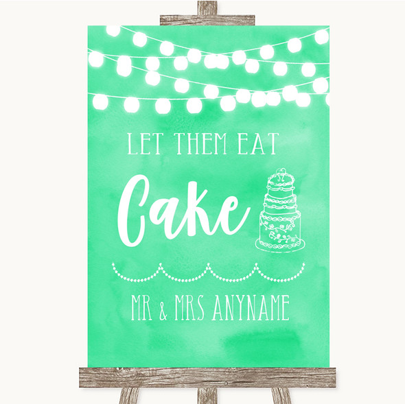 Mint Green Watercolour Lights Let Them Eat Cake Personalised Wedding Sign