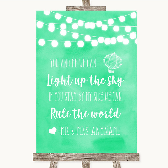 Mint Green Watercolour Lights Light Up The Sky Rule The World Wedding Sign