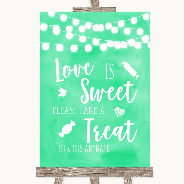 Mint Green Lights Love Is Sweet Take A Treat Candy Buffet Wedding Sign