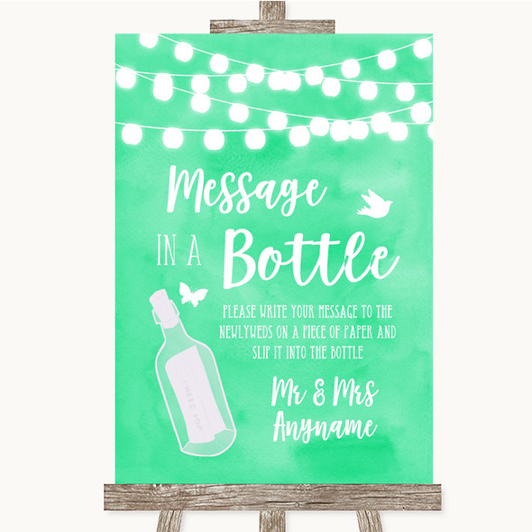 Mint Green Watercolour Lights Message In A Bottle Personalised Wedding Sign