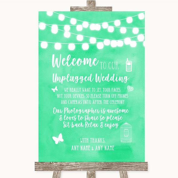 Mint Green Watercolour Lights No Phone Camera Unplugged Wedding Sign