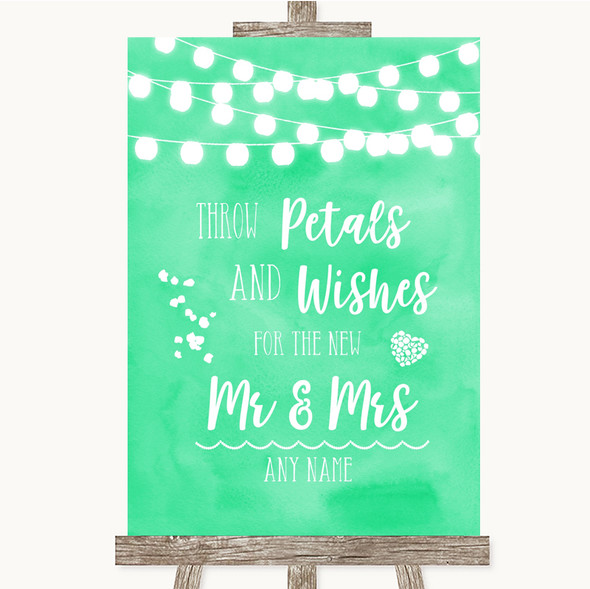 Mint Green Watercolour Lights Petals Wishes Confetti Personalised Wedding Sign