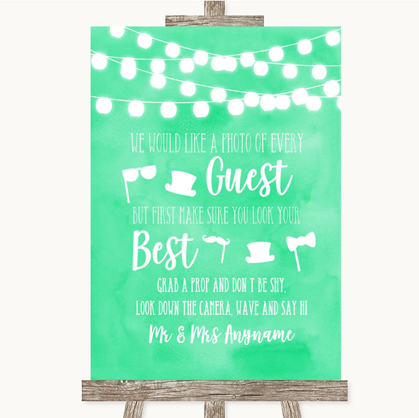 Mint Green Watercolour Lights Photo Prop Guestbook Personalised Wedding Sign