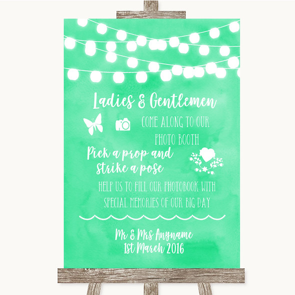 Mint Green Watercolour Lights Pick A Prop Photobooth Personalised Wedding Sign