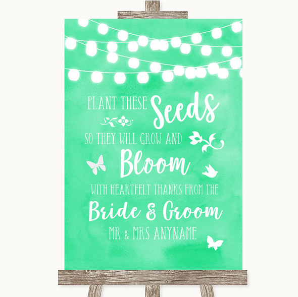 Mint Green Watercolour Lights Plant Seeds Favours Personalised Wedding Sign